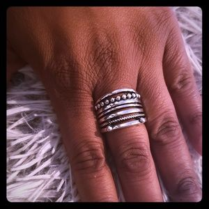 Womens Silver Beaded Ring